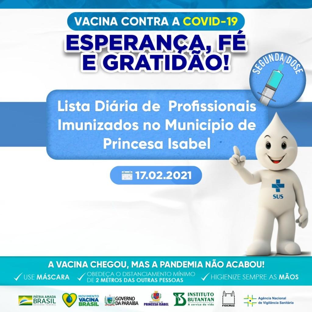 LISTA DIÁRIA DE PROFISSIONAIS IMUNIZADOS NO MUNICÍPIO DE PRINCESA ISABEL