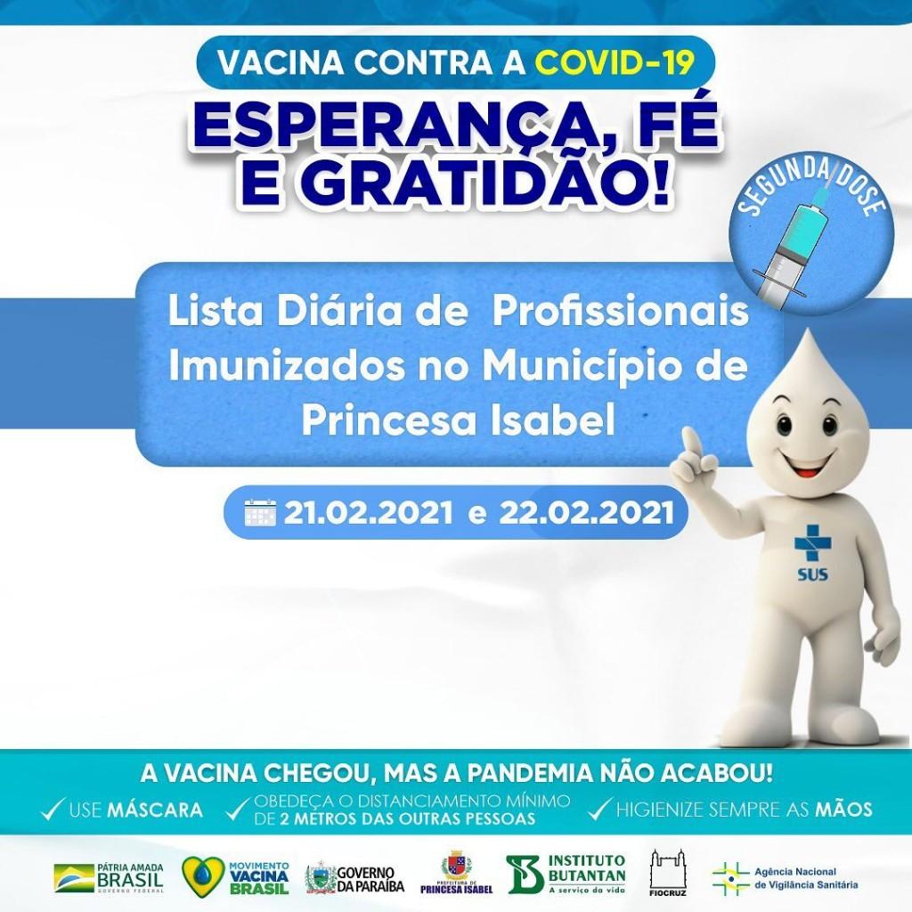 LISTA DIÁRIA DE PROFISSIONAIS IMUNIZADOS NO MUNICÍPIO DE PRINCESA ISABEL.