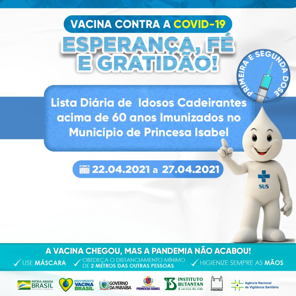 LISTA DE IDOSOS VACINADOS COM PRIMEIRA E SEGUNDA DOSE DO DIA 22 AO DIA 27/04