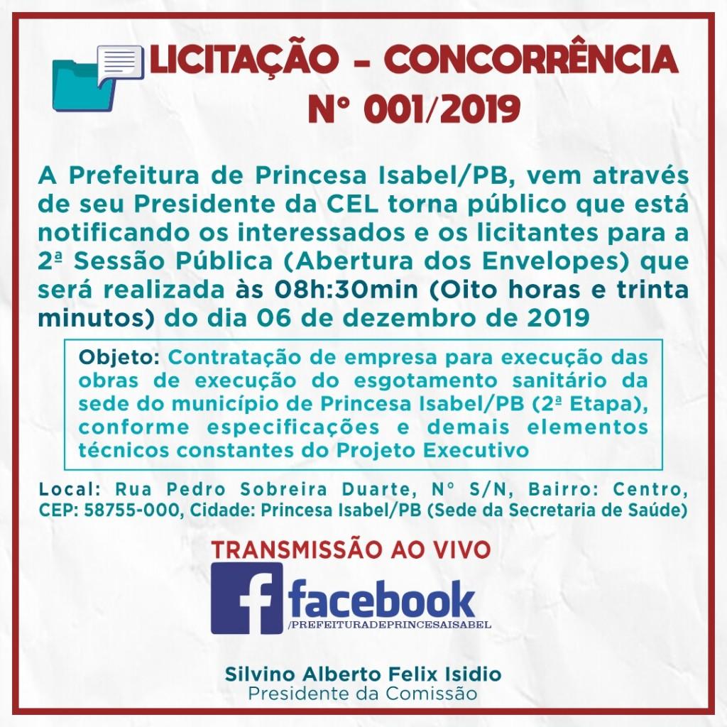 LICITAÇÃO - CONCORRÊNCIA Nº 001/2019
