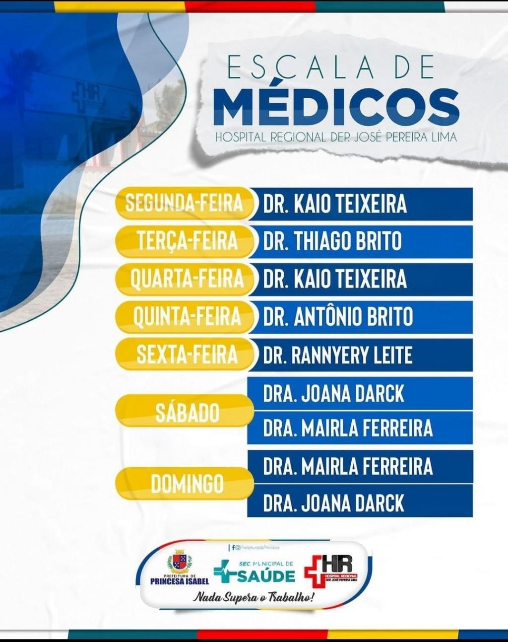 Confira a escala de médicos do Hospital Regional de Princesa Isabel.