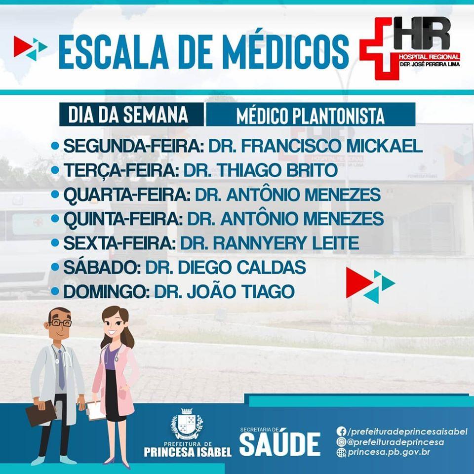 Escala semanal de médicos do Hospital Regional Deputado José Pereira Lima. Confira!